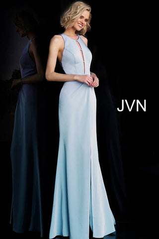 JVN by Jovani 67262 Criss Cross back high slit prom dress