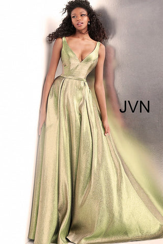 JVN by Jovani 67647 Green Gold V Neck Metallic Prom Dress Ball gown