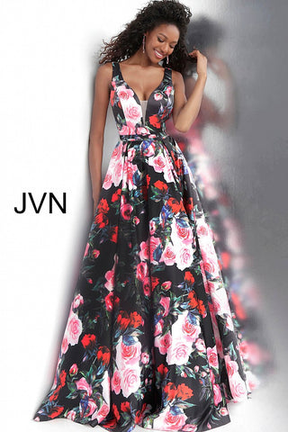 JVN by Jovani 67695 Black floral print  v neckline prom dress ball gown