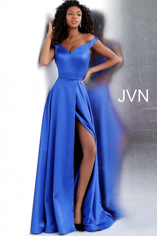 JVN by Jovani 67752 off the shoulder high slit prom dress-