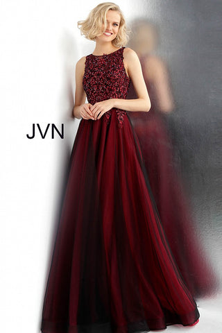 JVN by Jovani 67782 Size 0 Wine and Black Prom Dress Pageant Ball Gown