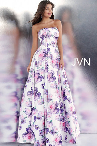 Jovani JVN 67999 Strapless floral print prom dress ball gown Formal Evening Flower