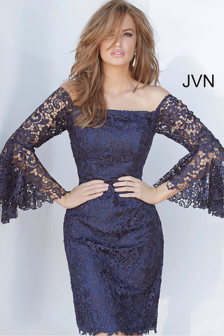 JVN68076  off the shoulder sheer lace bell sleeves fitted lace short cocktail dress, mother of the bride or groom dress