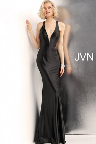 JVN by Jovani 68107 racer back fitted prom dress