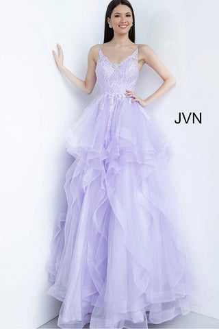 Jovani JVN 68128 Size 6 Sheer Embellished Lace Prom Dress Ruffle Ballgown 2020 V Neck