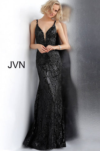 JVN68131 Black and gunmetal sequin embellished fitted prom dress with a plunging mesh insert neckline, sleeveless bodice, sheer insert sides and low scoop back, floor-length fitted skirt with a lightly flared end.