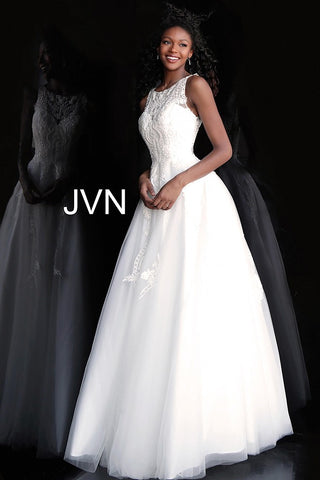 JVN68132 Full floor length tulle skirt, embroidered sleeveless bodice, jewel neckline with illusion sweetheart, close sheer back Ivory Size 6