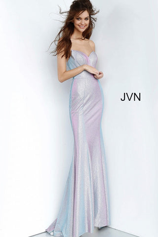 JVN 68190 is a Lilac Iridescent Shimmer Mermaid Prom Dress. Featuring a fitted slight mermaid silhouette with an iridescent color changing fabric. V neckline. slight train in the back.