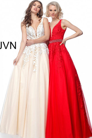 JVN by Jovani 68258 embellished belt A line prom dress