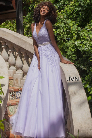 JVN68258 Light Purple tulle prom dress ball gown embroidered lace plunging neckline evening gown off white informal wedding dress