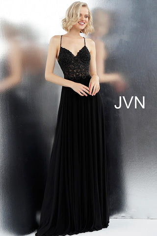 Jovani JVN68263 spaghetti straps criss cross back prom dress pageant gown evening dress