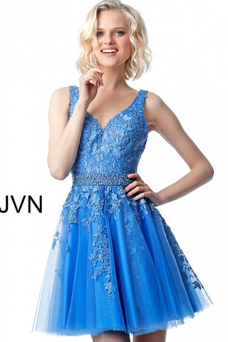 JVN68267 is a short Fit & Flare cocktail dress with a V neckline and lace applique along the bodice with a tulle fit and flare skirt with lace cascading down the short skirt, crystal and pearl embellished waistband on this cocktail dress with embellished belt homecoming dress reception dress.