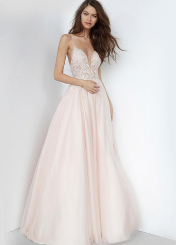 JVN68272 tulle long prom ballgown with embroidered sleeveless fitted bodice, plunging neckline, spaghetti straps and criss cross open back, floor length flared a-line skirt with sheer overlay.