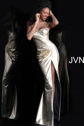 JVN by Jovani 68297 Gold ruched bodice metallic prom dress