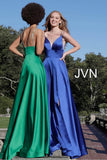 JVN68314 photo of two dresses Emerald Green and Royal Blue  JVN68314 Plunging V Neck Embellished Straps A Line Prom Dress Evening Gown Pageant Dress maxi slit front and back embellished spaghetti straps dresses