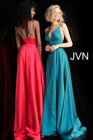 JVN68314 photo of two dresses Teal and Red JVN68314 Plunging V Neck Embellished Straps A Line Prom Dress Evening Gown Pageant Dress maxi slit front and back embellished spaghetti straps dresses