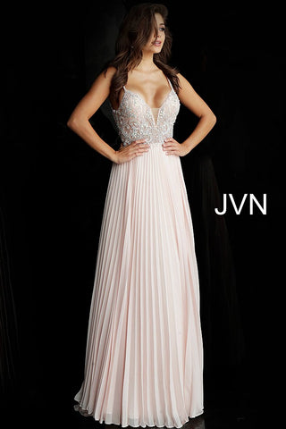 JVN by Jovani 68343 plunging neckline pleated skirt prom dress