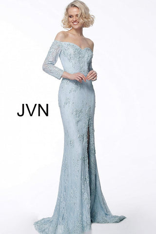 JVN68602 Embellished lace evening dress, form fitting silhouette, floor length with high slit and sweeping train, satin belt at waist, three quarter sleeve bodice, off the shoulder sweetheart neckline.