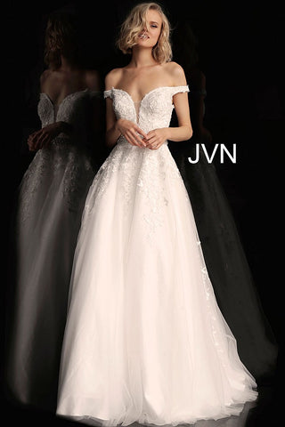 JVN68620 Off-white embroidered prom ballgown with a plunging mesh insert neckline, off-the-shoulder fitted bodice and low v-back, embellished belt and floor-length A-line pleated skirt.