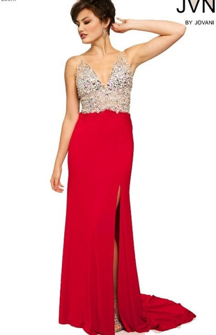 Jovani JVN86957 Size 8 Red Jersey Crystal Bodice Sheer Pageant Dress slit