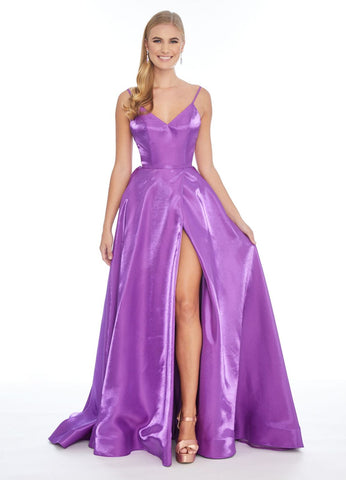 Ashley Lauren 1604 v neckline a line shimmer prom dress with side slit