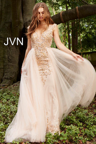 JVN by Jovani 46081 Embellished Column Dress with Tulle Overlay size 4 or 6 Blush in stock