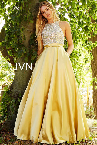 JVN by Jovani 49432 Embellished Bodice A line Prom Dress Pockets Ballgown High Neck