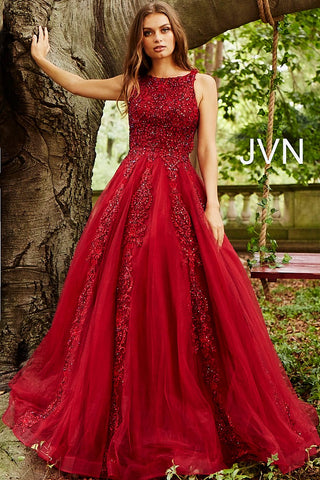 JVN by Jovani 59046 embellished lace sleeveless tulle ballgown