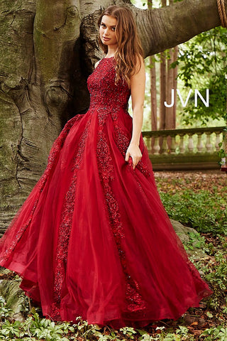 JVN59046 Burgundy prom dress with sheer lace applique high neckline and sheer full back lace applique coverage with zipper and long tulle ball gown skirt