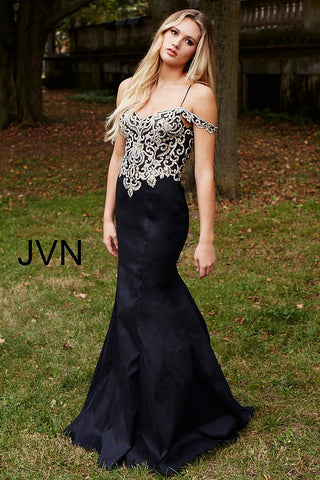 JVN60204 embellished bodice off the shoulder straps mermaid prom dress