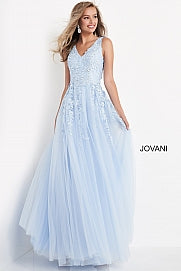 Jovani Kids k00367 Long Girls A Line Ballgown Dress V Neck Floral Pageant Gown
