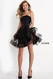 Jovani Kids K03524 short fit and flare strapless formal dress for girls, tweens & preteen