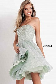 Jovani Kids K04445 girls short fit and flare formal cocktail dress strapless embellished