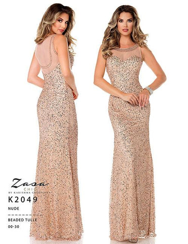Zasa Chic K 2049 Size 16 Long Fitted Sequin Formal Dress Sheer High Neck