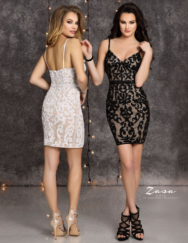 Zasa Chic K2108 spaghetti straps v neckline beaded cocktail dress