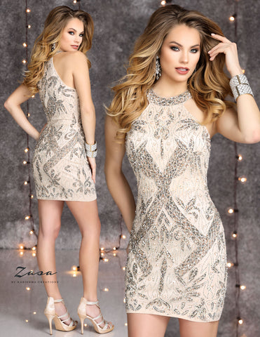 Zasa Chic K2111 high neckline sequin short homecoming dress