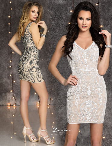 Zasa Chic K2112 beaded fitted short homecoming dress