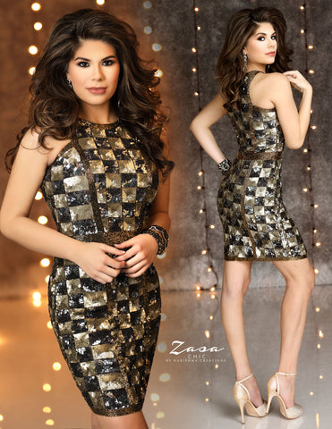 Zasa Chic K2113 checker pattern sequin homecoming dress