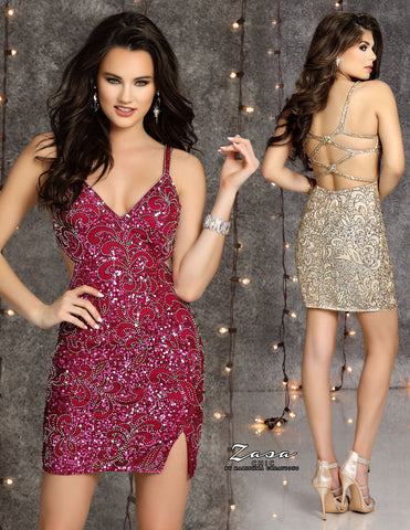 Zasa Chic K2121 short beaded homecoming dress with side slit