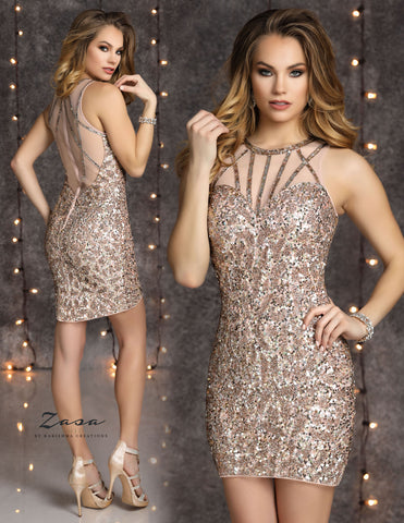 Zasa Chic K2122 illusion beaded neckline short homecoming dress