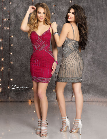 Zasa Chic K2123 short spaghetti straps beaded homecoming dress