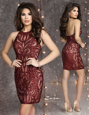 Zasa Chic K2125 high neckline beaded short homecoming dress