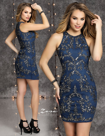 Zasa Chic K2126 short beaded homecoming dress
