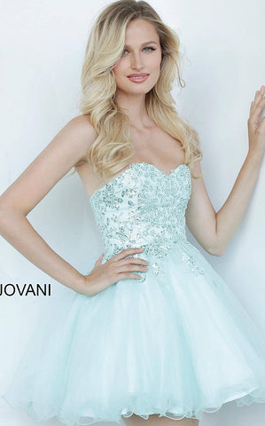 Jovani k2171 Light Blue Fit & Flare Strapless Girls Party Dress Short Cocktail Gown