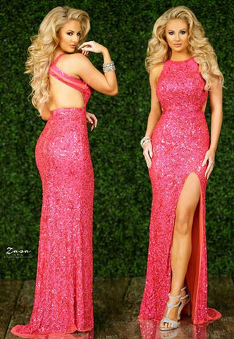 Zasa Chic by Karishma Creations K 2225 high neckline open back with double straps and side slit long sequin prom dress.  Prom, Pageant and Formal Evening Gown.   Color Coral