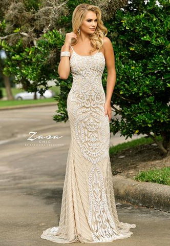 Zasa Chic K2309 Beaded Long Prom Dress