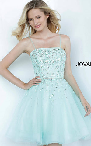 Jovani Kids k3641 is a short Girls Party Dress, Kids Pageant Gown & Pre Teen Formal Evening Wear gown. This Short Fit & Flare Girls Dress Features a straight neckline with spaghetti straps. Embellished Bodice with Crystals & Beading for a floral effect. Crystal Waist Belt with Embellishments cascading into the Flared Tulle Skirt.  Available Girls Sizes: 8, 10, 12, 14  Available Colors: pink, tiffany blue