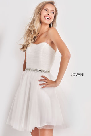 Jovani Kids k4761 is a short Girls Party Dress, Kids Pageant Gown & Pre Teen Formal Evening Wear gown. This Short Fit & Flare Girls Dress Features a sweetheart neckline with spaghetti straps. Pleated Fitted bodice with a Crystal Embellished Waist belt. Flared Tulle Short Skirt.  Available Girls Sizes: 8, 10, 12, 14  Available Colors: Light Blue, Off White