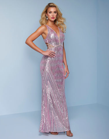 Splash Prom K502 is a long fully beaded sequins prom dress.  This pageant evening gown has a plunging v neckline with illusion panel.  The straps lead to the open back with multiple crossing straps. Colors Pink, Gold  Sizes  0-14