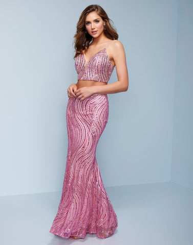 Splash Prom K504 This is a two piece sequin long column prom dress.  This evening gown has a plunging v neckline and lace up open back that ends with a sweeping train.  Colors  Gold, Pink  Sizes 0-14